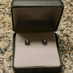 Jewelry - Blue Sapphire and Diamond Accent Flower Stud Earri